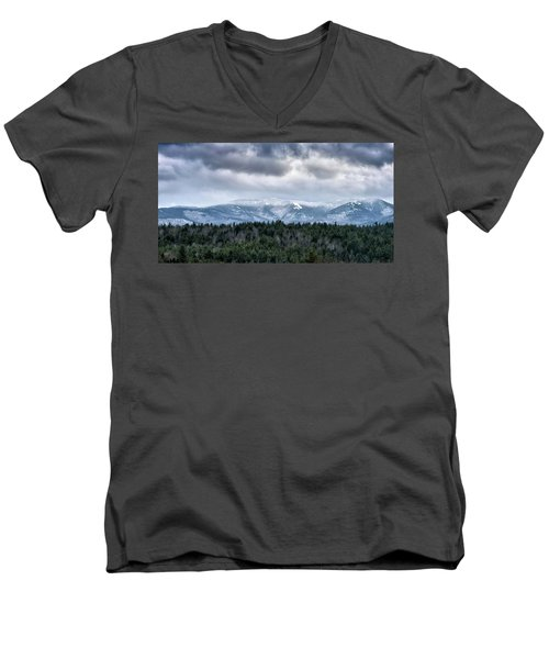 Adirondack High Peaks During Winter - New York Men's V-Neck T-Shirt by Brendan Reals