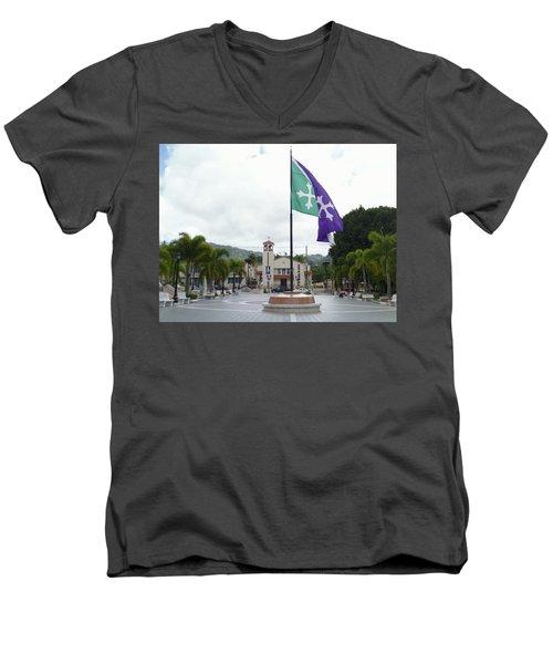 Adjuntas, Puerto Rico Flag Men's V-Neck T-Shirt