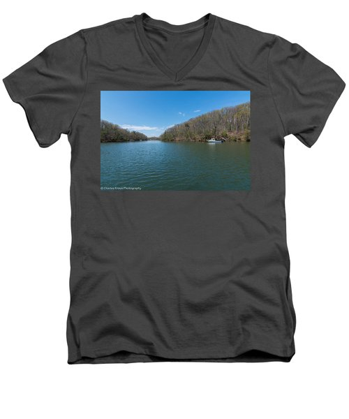 Men's V-Neck T-Shirt featuring the photograph Weeks Creek At Admiral Heights by Charles Kraus