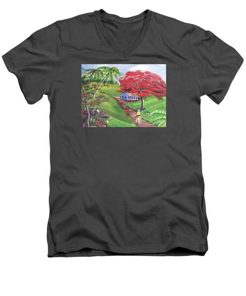 Admirando El Campo Men's V-Neck T-Shirt by Luis F Rodriguez