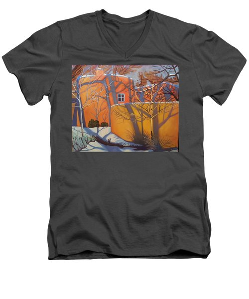 Adobe, Shadows And A Blue Window Men's V-Neck T-Shirt by Art West