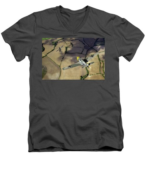 Men's V-Neck T-Shirt featuring the photograph Adolf Galland Attacking Spitfire by Gary Eason