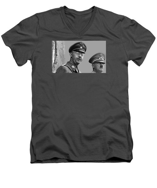 Adolf Hitler And Gestapo Head Heinrich Himmler Watching Parade Of Nazi Stormtroopers 1940-2015 Men's V-Neck T-Shirt by David Lee Guss