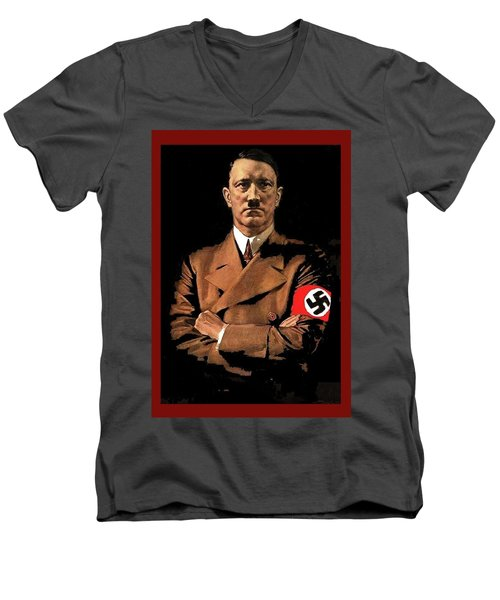 Adolf Hitler Painting Circa  1940 Color Added 2016 Men's V-Neck T-Shirt