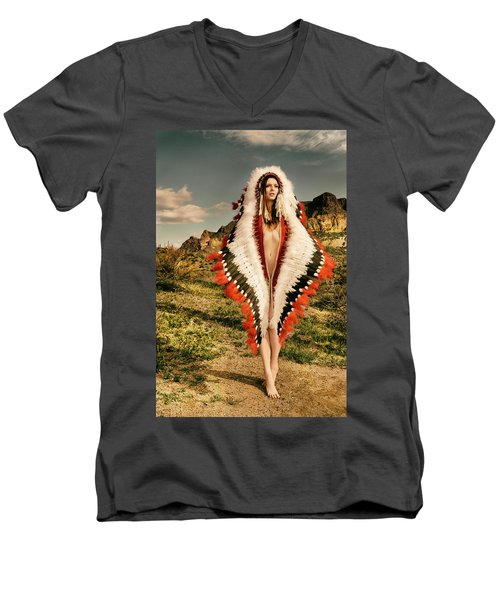Adorned Feathered Nude Men's V-Neck T-Shirt