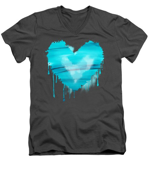 Men's V-Neck T-Shirt featuring the painting Adrift In A Sea Of Blues Abstract by Nikki Marie Smith