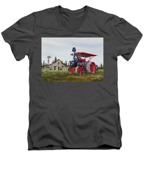 Men's V-Neck T-Shirt featuring the painting Advance Rumely Steam Traction Engine by James Williamson