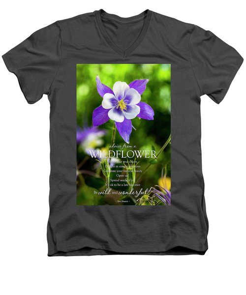 Advice From A Wildflower Columbine Men's V-Neck T-Shirt by Teri Virbickis
