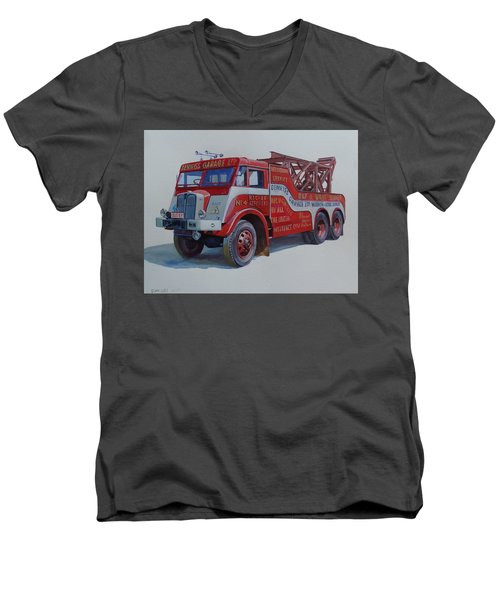Men's V-Neck T-Shirt featuring the painting Aec Militant Dennis's. by Mike Jeffries