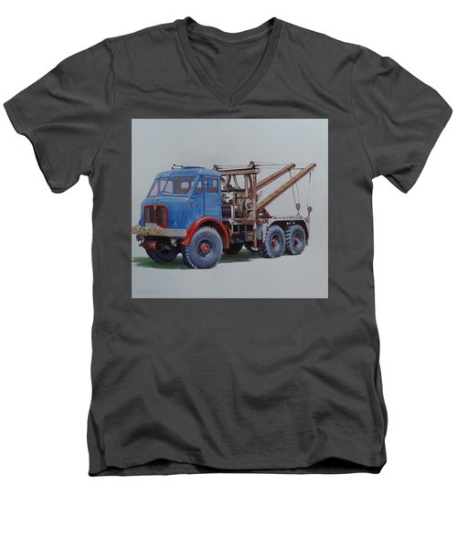 Men's V-Neck T-Shirt featuring the painting Aec Militant Wrecker. by Mike Jeffries