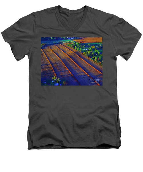 Aerial Farm Field Harvested At Sunset Men's V-Neck T-Shirt