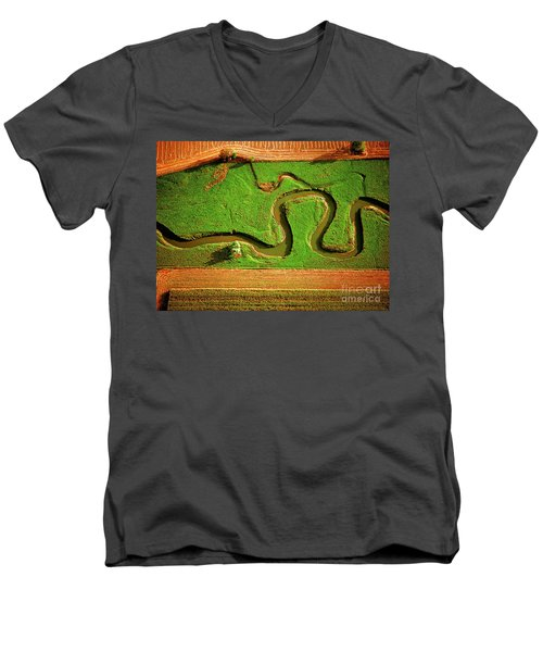 aerial, farm, stream, northern, Illinois, farms, meandering  Men's V-Neck T-Shirt