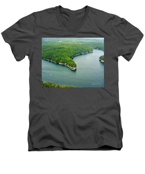Aerial Image Of  Long Point Cliff Men's V-Neck T-Shirt