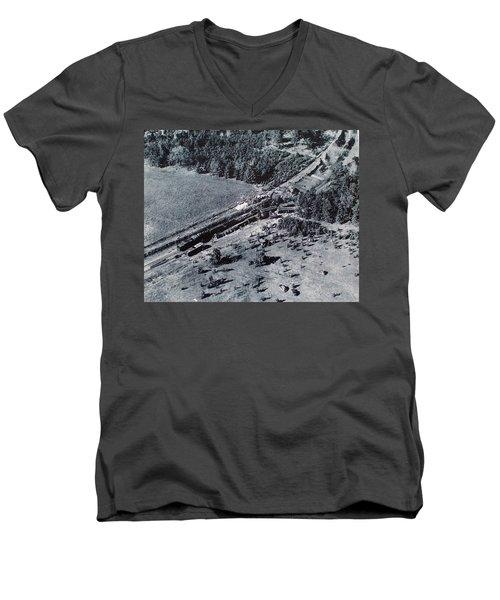 Aerial Train Wreck Men's V-Neck T-Shirt