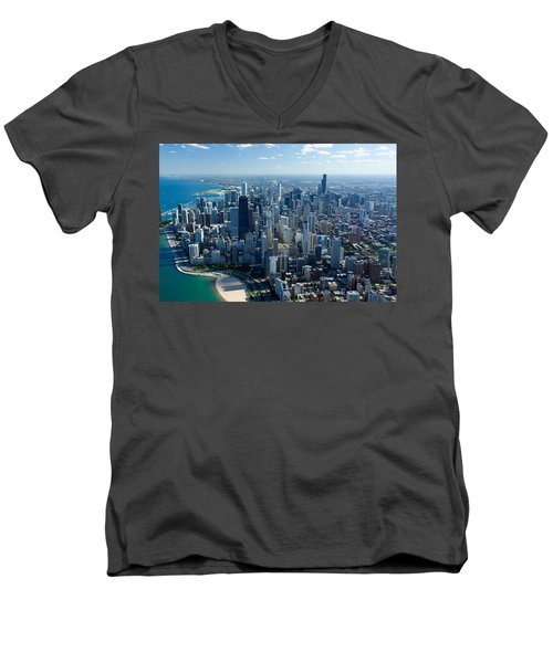Aerial View Of A City, Lake Michigan Men's V-Neck T-Shirt