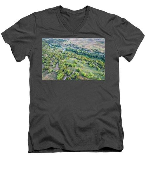 aerial view of Dismal River in Nebraska Sandhills Men's V-Neck T-Shirt