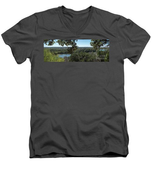Aerial View Of Large Forest And Lake Men's V-Neck T-Shirt