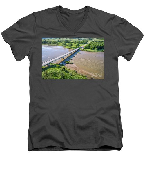 aerial view of Niobrara River in Nebraska Sand Hills Men's V-Neck T-Shirt