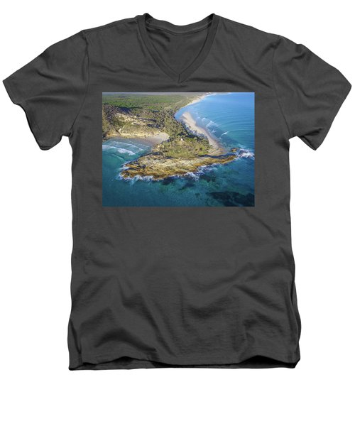 Aerial View Of North Point, Moreton Island Men's V-Neck T-Shirt
