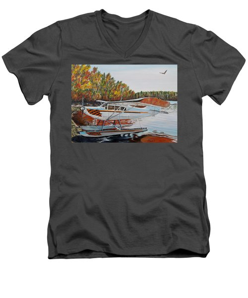 Men's V-Neck T-Shirt featuring the painting Aeronca Super Chief 0290 by Marilyn  McNish