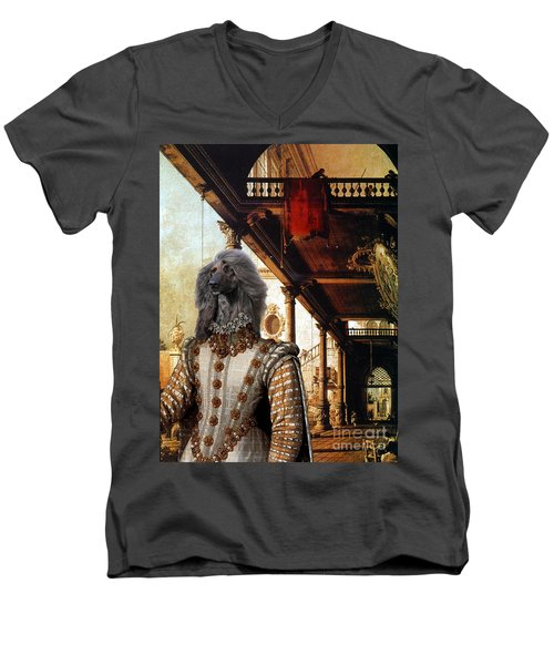 Afghan Hound-capriccio Of Colonade And The Courtyard Of A Palace Canvas Fine Art Print Men's V-Neck T-Shirt