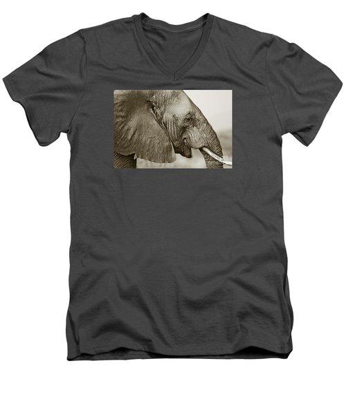African Elephant Profile  Duotoned Men's V-Neck T-Shirt by Liz Leyden