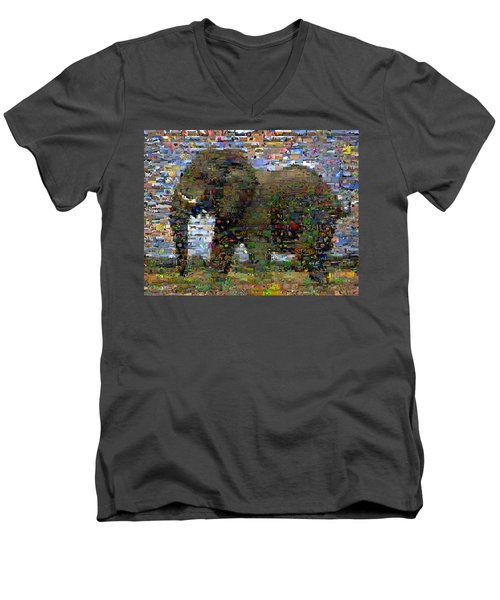 Men's V-Neck T-Shirt featuring the mixed media African Elephant Wild Animal Mosaic by Paul Van Scott