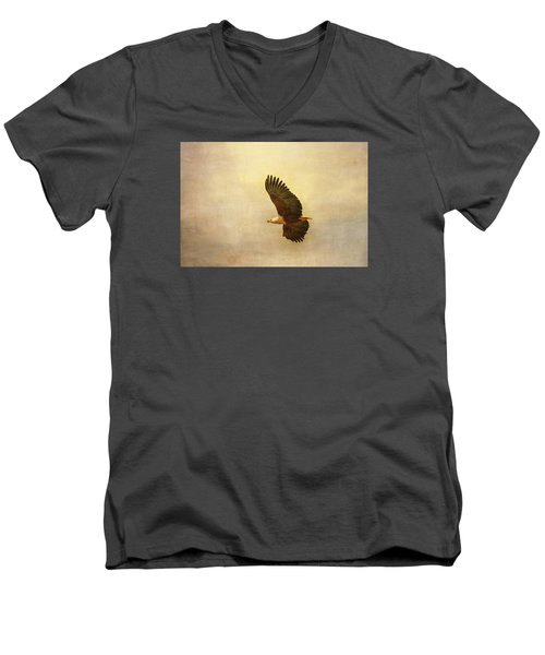 Men's V-Neck T-Shirt featuring the tapestry - textile African Fish Eagle by Kathy Adams Clark