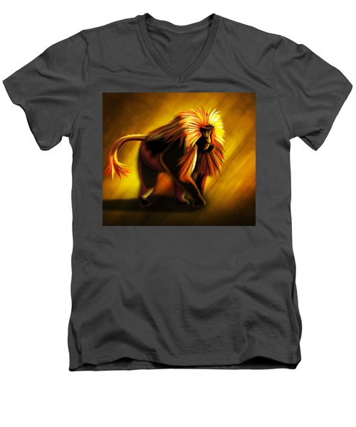 African Gelada Monkey Men's V-Neck T-Shirt by John Wills