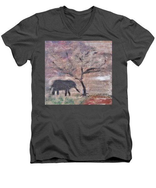 African Landscape Baby Elephant And Banya Tree At Watering Hole With Mountain And Sunset Grasses Shr Men's V-Neck T-Shirt by MendyZ