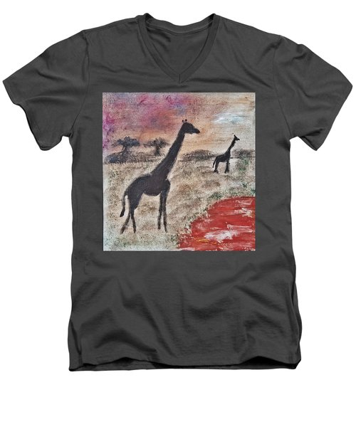 African Landscape Giraffe And Banya Tree At Watering Hole With Mountain And Sunset Grasses Shrubs Sa Men's V-Neck T-Shirt by MendyZ