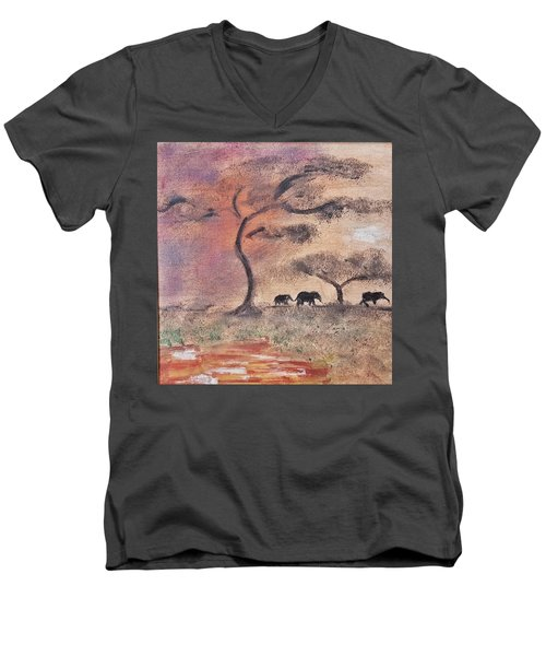 African Landscape Three Elephants And Banya Tree At Watering Hole With Mountain And Sunset Grasses S Men's V-Neck T-Shirt by MendyZ