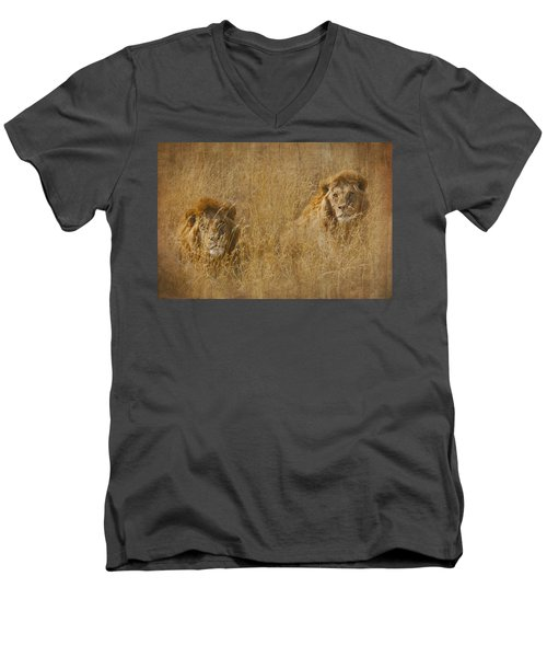 Men's V-Neck T-Shirt featuring the tapestry - textile African Lion Brothers by Kathy Adams Clark