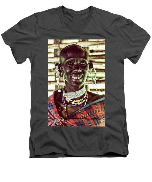 African Maasai Teacher Men's V-Neck T-Shirt