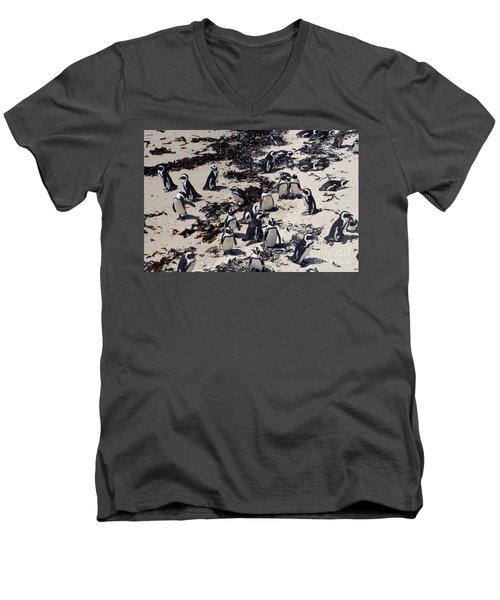 Men's V-Neck T-Shirt featuring the digital art African Penguin 3 by Eva Kaufman