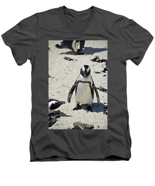 Men's V-Neck T-Shirt featuring the digital art African Penguin by Eva Kaufman