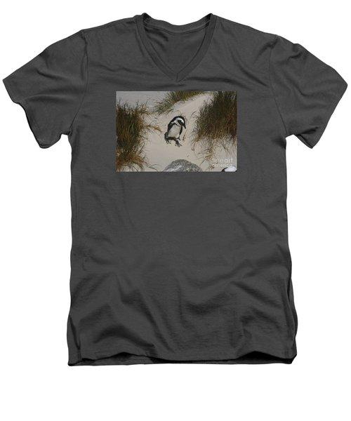 African Penguin On A Mission Men's V-Neck T-Shirt by Bev Conover