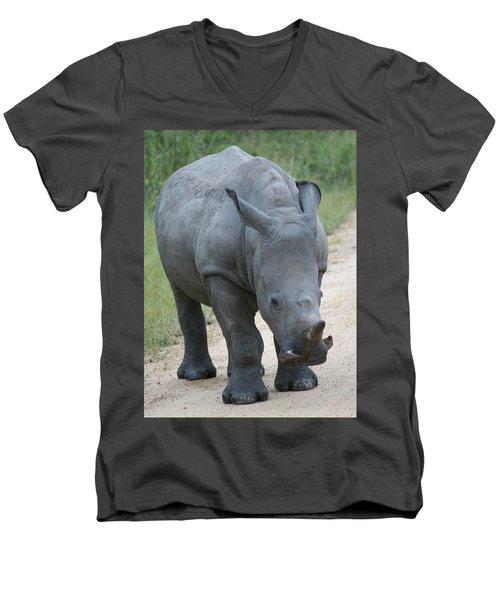 African Rhino Men's V-Neck T-Shirt