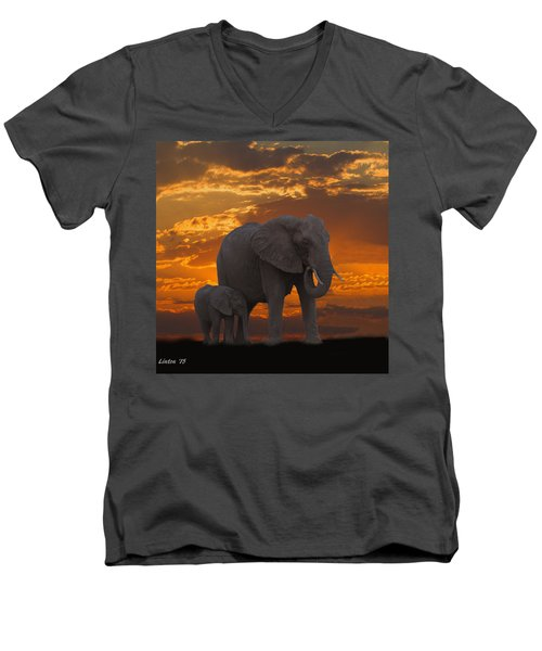 African Sunset-k Men's V-Neck T-Shirt