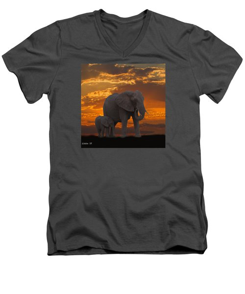 African Sunset-k Men's V-Neck T-Shirt