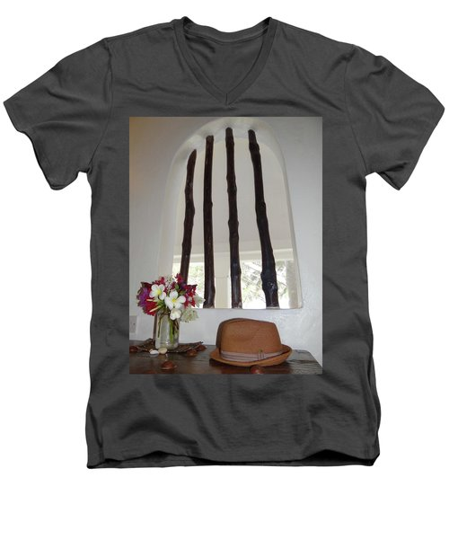 African Table With Flowers And Hat Men's V-Neck T-Shirt