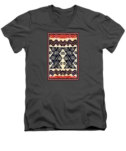 African Tribal Textile Design Men's V-Neck T-Shirt