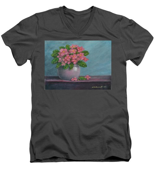 Men's V-Neck T-Shirt featuring the painting African Violets by Kathleen McDermott