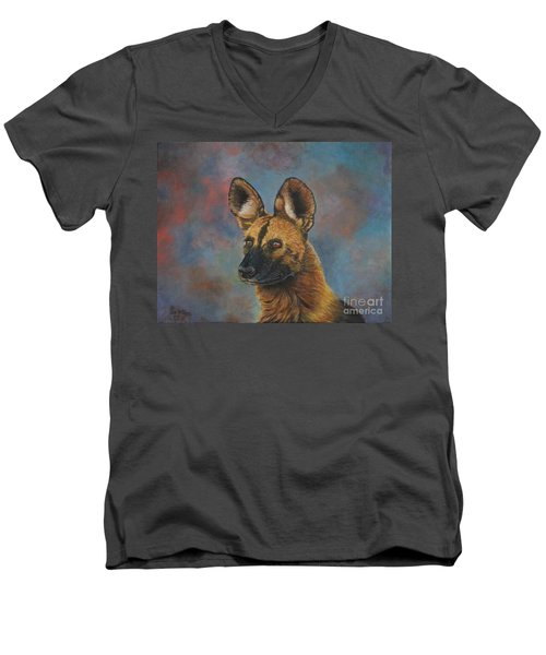 African Painted Wild Dog Men's V-Neck T-Shirt