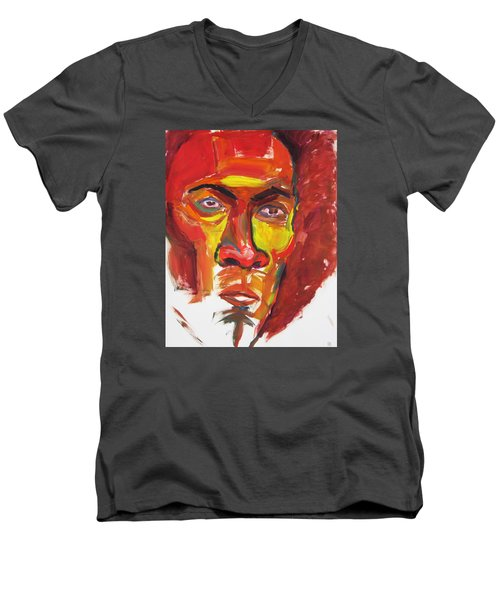 Men's V-Neck T-Shirt featuring the painting Afro by Shungaboy X