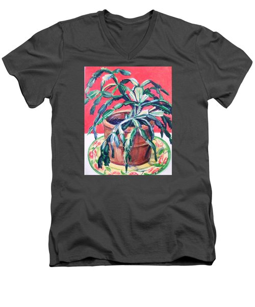 Men's V-Neck T-Shirt featuring the painting Christmas Cactus by Laura Aceto