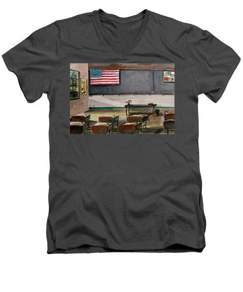 Men's V-Neck T-Shirt featuring the painting After Class by John Williams