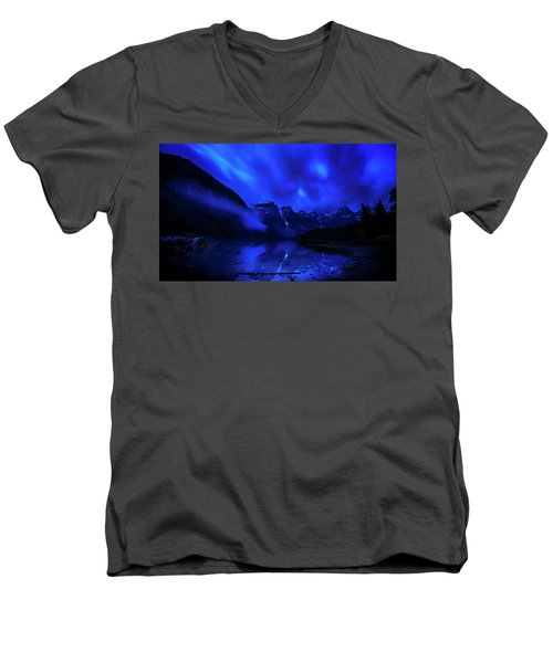 Men's V-Neck T-Shirt featuring the photograph After Midnight by John Poon
