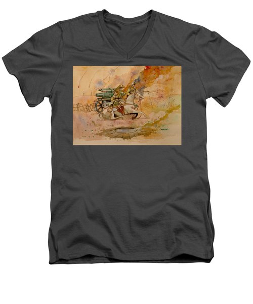 Men's V-Neck T-Shirt featuring the painting After The Charge by Ray Agius