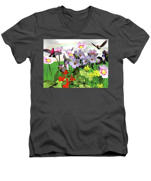 After The Rain Comes The Rainbow Men's V-Neck T-Shirt by Michele Wilson